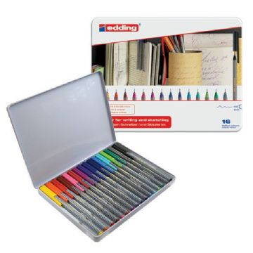 EDDING 55 FINELINER DRAWING ART PEN ASSORTED METAL GIFT TIN SET OF 16 PENS